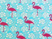 Jersey Flamingo Lace, pink auf türkis