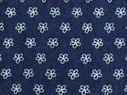 RESTSTÜCK 17 cm Stretchiger Jeansstoff Ringelblümchen, dunkelblau