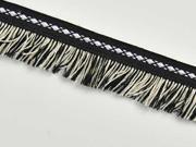 Fransenband Ethno 25 mm Baumwolle, schwarz weiß