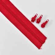 endlos Reißverschluss Meterware 3 mm + 3 Schieber, rot