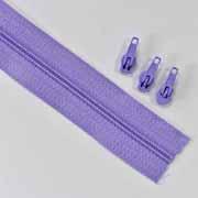 endlos Reißverschluss Meterware 3 mm + 3 Schieber, flieder