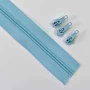 endlos Reißverschluss Meterware 3 mm + 3 Schieber, eisblau