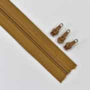 endlos Reißverschluss Meterware 3 mm + 3 Schieber, camel