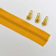 endlos Reißverschluss Meterware 5 mm + 3 Schieber,  helles ockergelb