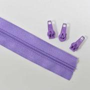 endlos Reißverschluss Meterware 5 mm + 3 Schieber, flieder