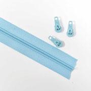 endlos Reißverschluss Meterware 5 mm + 3 Schieber, eisblau