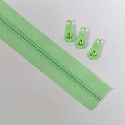 endlos Reißverschluss Meterware 5 mm + 3 Schieber, hellgrün