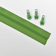endlos Reißverschluss Meterware 5 mm + 3 Schieber, moosgrün