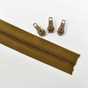 endlos Reißverschluss Meterware 5 mm + 3 Schieber, dunkles camel