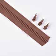 endlos Reißverschluss Meterware 5 mm + 3 Schieber, schokobraun
