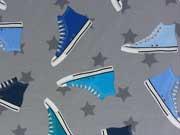 RESTSTÜCK 42 cm Jersey Sneaker & Stars, grau blau