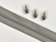 endlos Reißverschluss Meterware 3 mm + 3 Schieber, grau