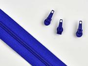 1 Meter endlos Reißverschluss 3 mm + 3 Schieber, kobaltblau