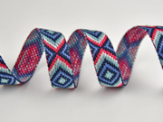 Jacquard Webband Inkalook Rauten 2 cm, pink mint jeansblau navy