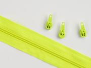 1 Meter endlos Reißverschluss 3 mm + 3 Schieber, neongelb