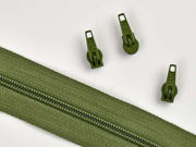 endlos Reißverschluss Meterware 3 mm + 3 Schieber, khaki grün