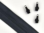 endlos Reißverschluss Meterware 3 mm + 3 Schieber, schwarz