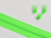1 Meter endlos Reißverschluss 3 mm + 3 Schieber, neongrün