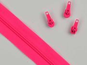 endlos Reißverschluss Meterware 3 mm + 3 Schieber, neonpink