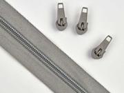 1 Meter endlos Reißverschluss 5 mm + 3 Schieber, taupe