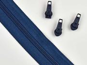 endlos Reißverschluss Meterware 5 mm + 3 Schieber, indigo blau
