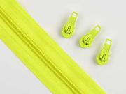 1 Meter endlos Reißverschluss 5 mm + 3 Schieber, neongelb