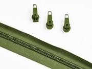 1 Meter endlos Reißverschluss 5 mm + 3 Schieber, khaki