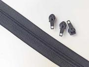 1 Meter endlos Reißverschluss 5 mm + 3 Schieber, dunkelgrau