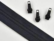 1 Meter endlos Reißverschluss 5 mm + 3 Schieber, schwarz