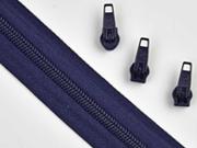 endlos Reißverschluss Meterware 5 mm + 3 Schieber, navy
