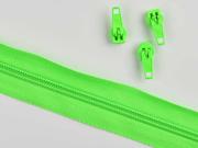 1 Meter endlos Reißverschluss 5 mm + 3 Schieber, neongrün