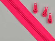 endlos Reißverschluss Meterware 5 mm + 3 Schieber, neonpink