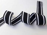 gestreiftes Gummiband 4 cm, schwarz weiß