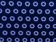 Jersey Stern im Kreis 1,7cm eisblau dunkelblau