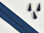 1 Meter endlos Reißverschluss 3 mm + 3 Schieber, indigo blau