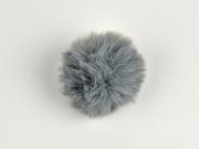 Kunstfellbommel Taschenanhänger 6 cm, mittelgrau