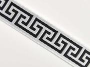 Jacquard Webband Labyrinth Greek Style, schwarz weiß