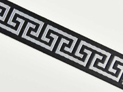 Jacquard Webband Labyrinth Greek Style, schwarz grau