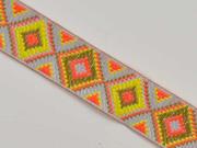 Jacquardband Ethnomuster Rauten 25 mm, grau orange khaki