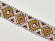Jacquardband Ethnomuster Rauten 25 mm, grau weinrot khaki