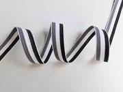Webband Streifen 15 mm, grau weiß schwarz