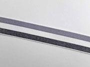Webband Streifen 25 mm, grau weiß schwarz