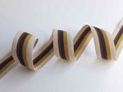 Ripsband Streifen 25 mm, beige rotbraun anthrazit ocker