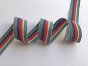 Ripsband Streifen 25 mm, dunkelmint dunkelblau orangerot