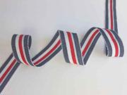 Ripsband Streifen 25 mm, jeansblau hellblau rot weiß