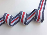 Ripsband Streifen 35 mm, jeansblau hellblau rot weiß