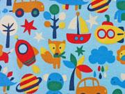 Reststück 80cm Jersey Tiere & Autos, hellblau