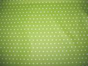 beschichteter Baumwollstoff Punkte 7mm, weiß hellgrün