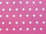 beschichtete Baumwolle Punkte 6mm, weiß auf pink