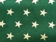 Baumwollstoff Sterne 1,6 cm, gold auf tannengrün